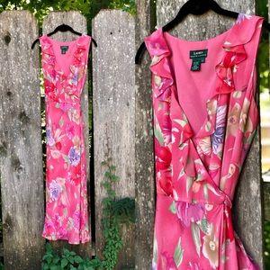 Coral Floral Wrap Dress by Lauren Ralph Lauren / M